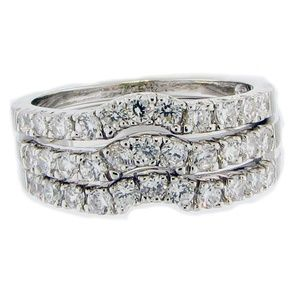 Triple CZ Diamond Stacking Ring Bands .925 Silver